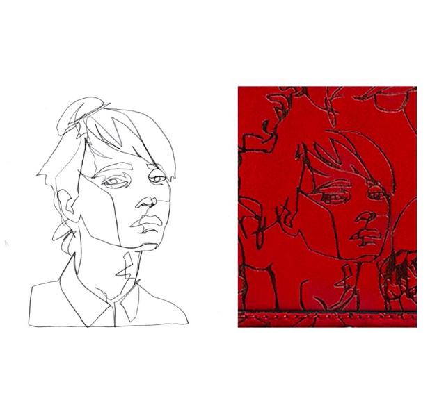 Eindeutig das gezeichnete Gesicht von Boris Schmitz auf der Zara-Handtasche