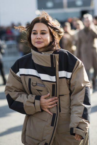 Jacke von Balenciaga, gesehen kurz vor der Fashion Show von Coach