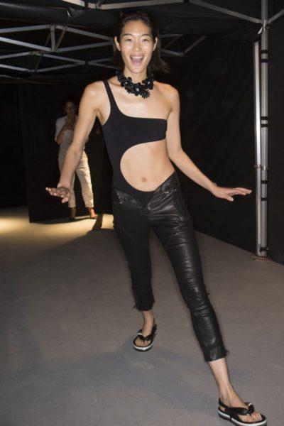 … und mit Lederhose bei Isabel Marant