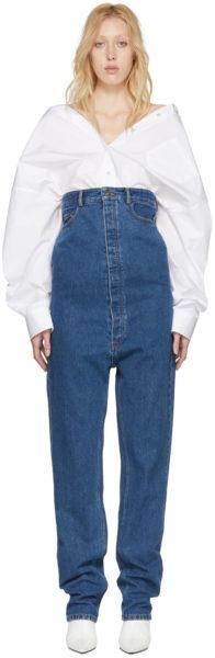 Die Y/Project-Jeans bis unter die Brust durchgeknöpft: bei Ssense