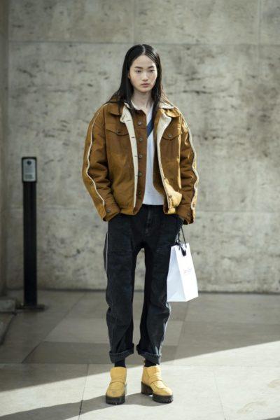 Model HyunJi Shin nach der Giambattista Valli-Show, Jacke: Y/Project