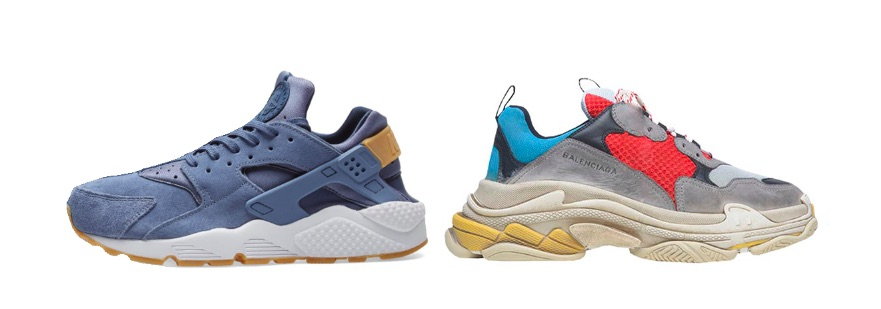 Nike Air Huarache (links), Balenciaga Triple S (rechts)