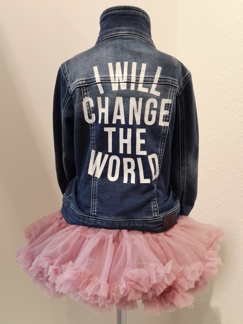 I will change the world Jeansjacke Tutu Modepilot