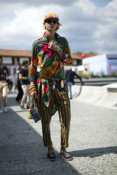 Auffallend gut auf dem Gelände der Pitti Uomo in Florenz