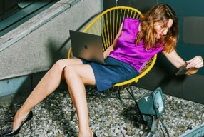Comma Violett Office Outfit Post Jeansrock Modepilot