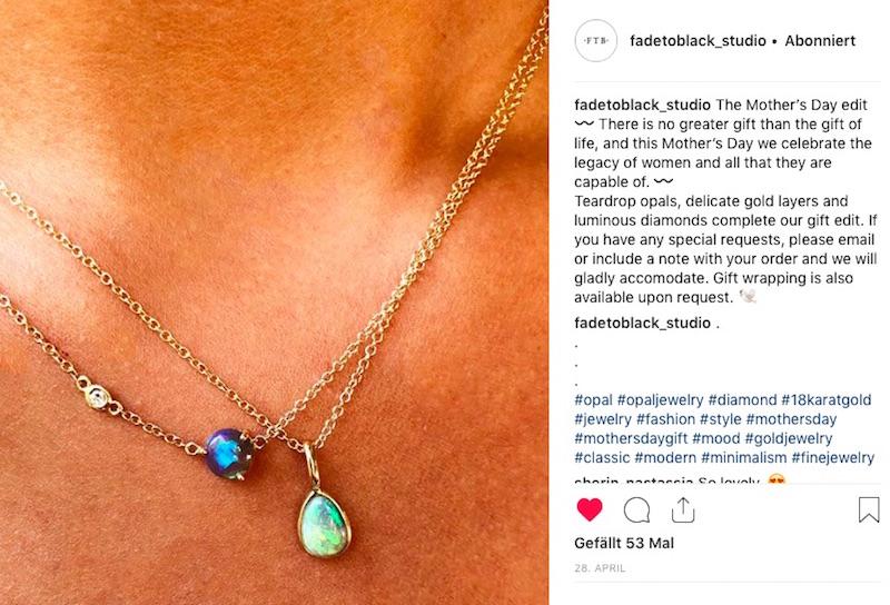 Fade to Black Halskette Opal Mondstein Modepilot Gold