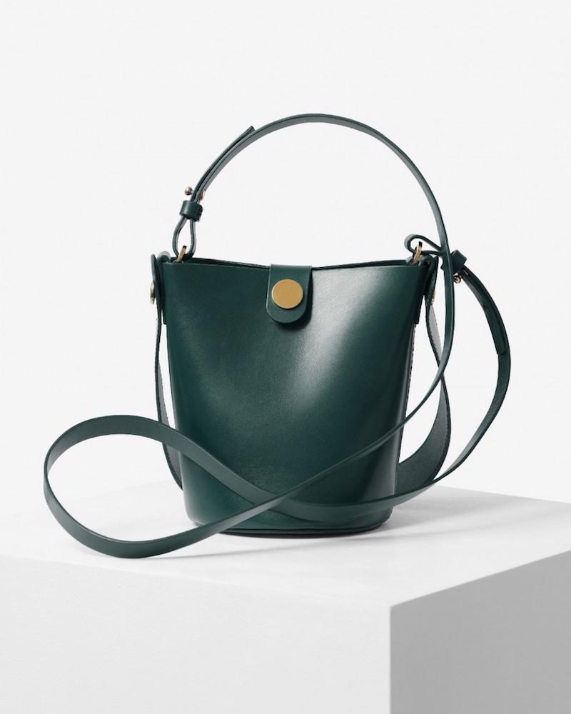 Sophie Hulme Modepilot Green Gruen Leder Tasche Bucket bag