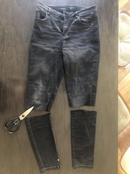 Aus der Slim Jeans wurde eine Denim-Radlerhose