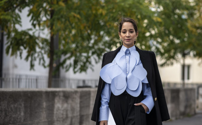 Street Style blouse flower blue Modepilot
