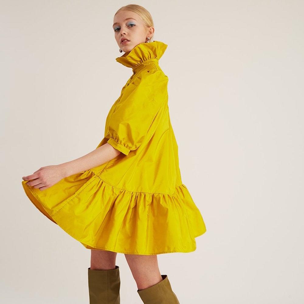 AVAVAV Rüschenkleid Gold Gelb Modepilot Seide Minikleid