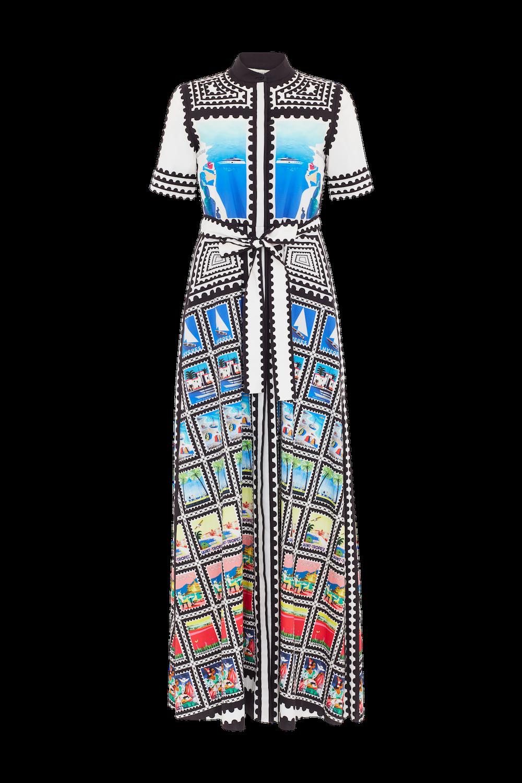 Modepilot Mary Katrantzou Briefmarken Seidenkleid