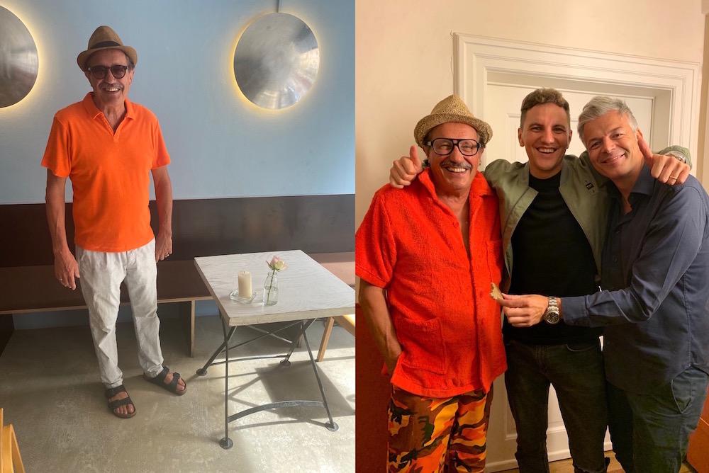 Raffi in einem Frottee-Hemd von Linus (links) und in einem selbst entworfenen (rechts)
