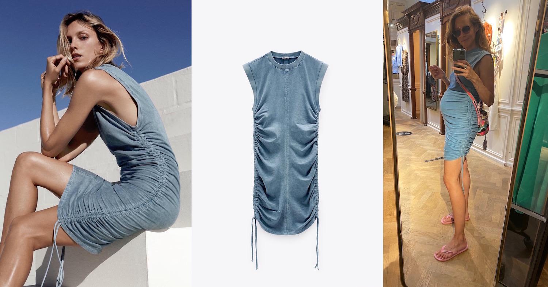 Anja Rubik Kleid Zara Denim Raffung Modepilot Schwangerschaft